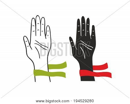 Two hands of voting people. Vector illustration.