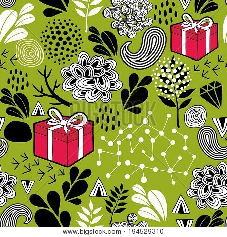 Seamless wallpaper with gift boxes on the green background. Vector endless pattern.
