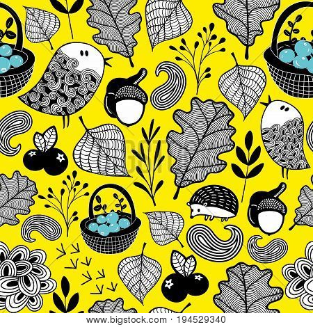 Wallpaper pattern with autumn forest. Plants and animals in vector.