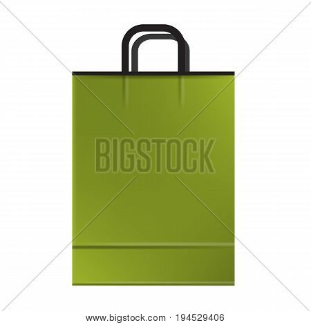 Green empty Shopping paper bag. Ready to use mockup vector illustration