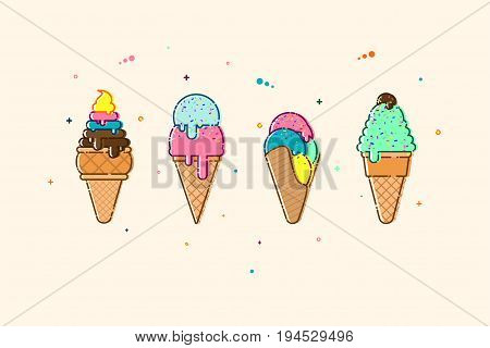 Vector flat ice cream. Cold delicious summer dessert set. Sweet dessert illustration.