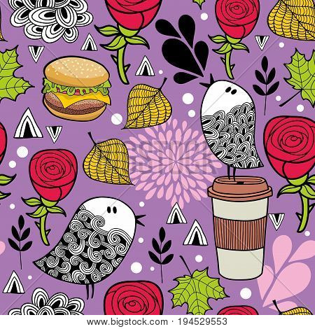 Seamless background with coffee mug, birds and hand drawn nature elements. Vector endless pattern.
