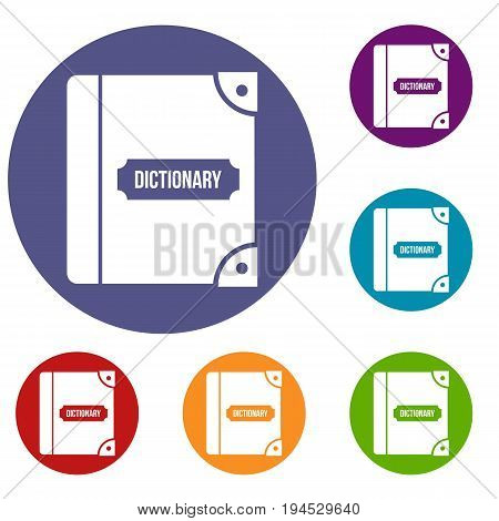 English dictionary icons set in flat circle reb, blue and green color for web