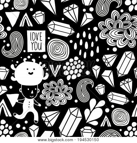 Seamless pattern with strange creatures in black and white colors. Vector endless illustration.