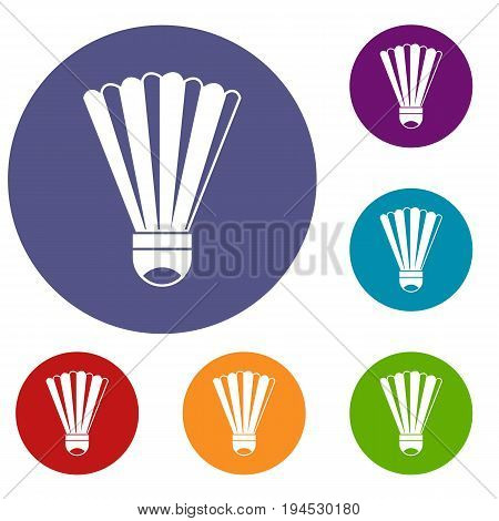 Shuttlecock icons set in flat circle reb, blue and green color for web