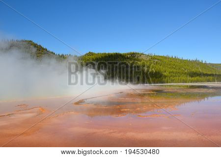 Grand Prismatic Spring, at Midway Geyser Basin, in Yellowstone National Park is the largest hot spring in the United States, and the third largest in the world.