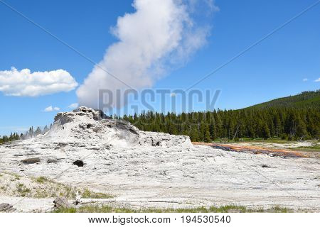 Castle Geyser, Yellowstone National Park, Wyoming. The cone geyser in the Upper Geyser Basin is noted for its large profile that resembles a castle.