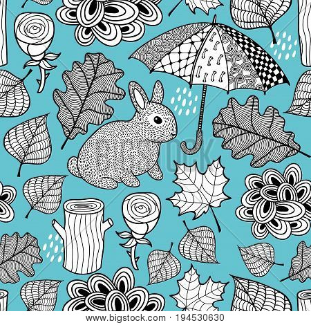 Creative black and white seamless pattern with cute rabbit and doodle umbrella. Vector illustration. Floral background with autumn leaves.