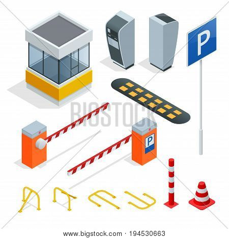 Isometric Parking isometric elements set . Icons for parking cars. Fines and elements of parking. Parking zone icon in set collection.