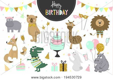 Set of vector birthday party elements with cute animals