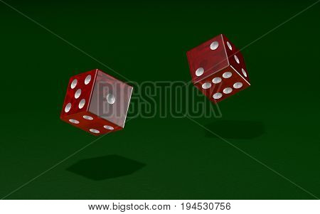 Dice rolled over a green felt texture in a game of chance - 3D illustration