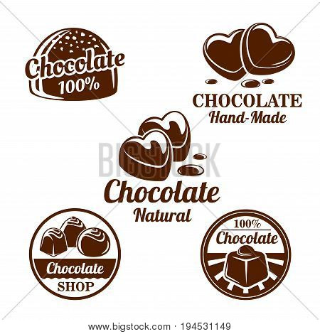 Chocolate, sweet food shop isolated symbol set. Chocolate candy and cacao dessert in shape of a heart brown icons with drops of melted chocolate for natural sweets label, confectionery emblem design