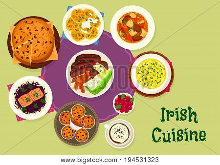 Irish cuisine tasty dinner menu icon of lamb vegetable stew, beef with cabbage and potato, salmon with red cabbage salad, mashed potato with cabbage and onion, potato pancake, raisin bread and cupcake