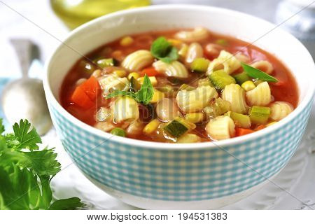 Minestrone - Traditional Italian Vegetavle Soup.