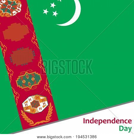 Turkmenistan independence day with flag vector illustration for web