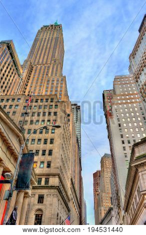 Wall Street, a historic building in Manhattan - New York City, USA. Built in 1930