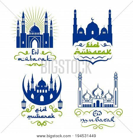 Ramadan lantern with mosque isolated icon set. Muslim religion holiday symbols of mosque, arabian lamp and crescent moon with wishes of Eid Mubarak for Ramadan Kareem greeting card design