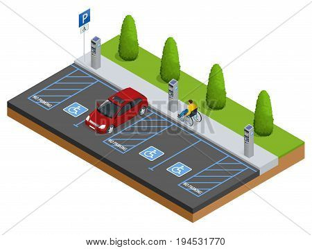 Isometric Cars in the parking lot or car parking for the disabled. Isometric Cars in the parking lot or car parking. City parking vector web banner isometric flat vector style