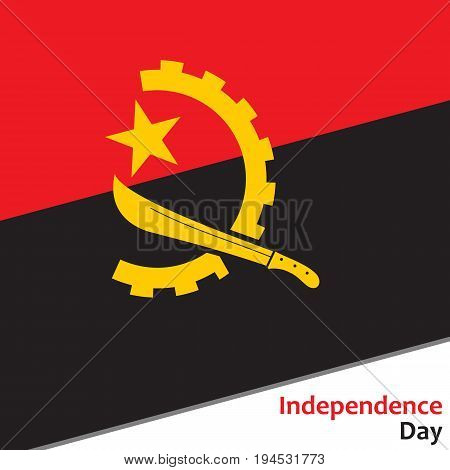 Angola independence day with flag vector illustration for web