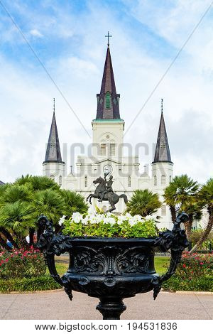 St. Louis Cathedral viewed from Jackson Square New Orleans Louisiana