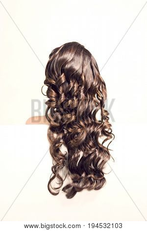 Closeup rear view of a woman with long curly brown hair against white background