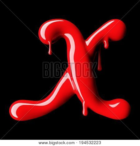 Glossy red letter X uppercase. 3D rendering font with glint on black background.