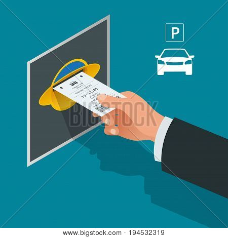 Mans hand with Parking tickets. Isometric Flat illustration vector icon for web. Urban transport. Parking space. Accessibility.