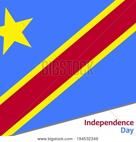 Democratic Republic of the Congo independence day with flag vector illustration for web