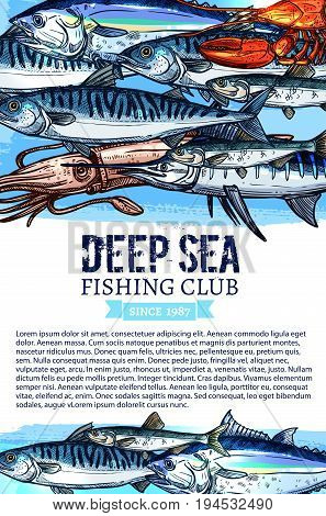 Fishing club banner with seafood and fish. Swimming tuna, blue marlin, lobster, mackerel, squid and sprat sketches with ribbon banner and text layout for fishing sport, outdoor recreation theme design