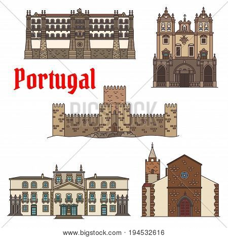 Travel sight of portuguese architecture icon set with linear Santa Clara Convent, Roman Catholic Funchal Cathedral, ancient castle with tower , Cathedral of Braga, Residence of Biscainhos symbols