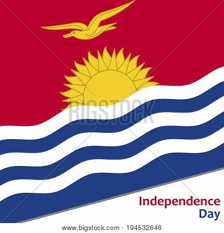 Kiribati independence day with flag vector illustration for web