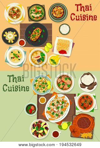 Thai cuisine healthy food icon set with chicken and fish curry, coconut rice, spring roll, meat vegetable salad, mushroom soup, chicken noodle with tofu cheese, fruit ice cream and pumpkin dessert