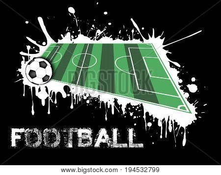 Soccer Ball And Field On A Background Of Blots Of Paint