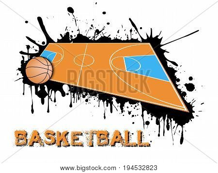 Basketball Ball And Field On A Background Of Blots Of Paint