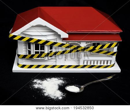 Condemned drug contaminated home concept New Zealand NZ villa house and powdered substance that may resemble meth methamphetamine heroin cocaine