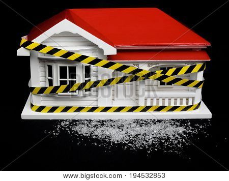 Condemned drug contaminated home concept New Zealand NZ villa house and crystalline substance that may resemble crystal meth ice crystal methamphetamine