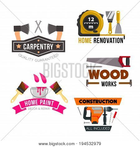Work tool and hardware icons set of screwdriver, hammer, paint, brush, drill and trowel, spatula, axe and saw, tape measure and nail. Home repair and construction, carpentry, painting service design