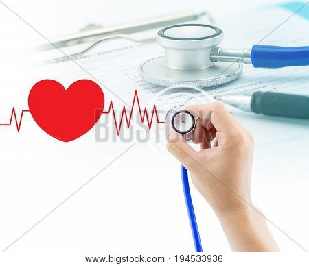 Medical, Hand Holding Stethoscope And Document, Questionnaire For Background