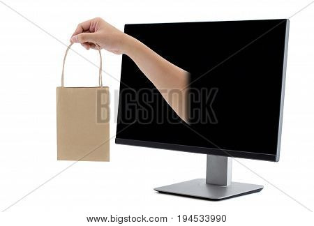 shopping with hand holding bag LCD monitor isolated over a white background