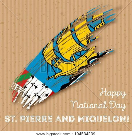 St. Pierre And Miquelon Independence Day Patriotic Design. Expressive Brush Stroke In National Flag