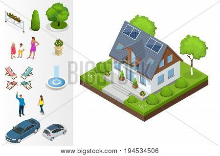 A compact eco house, with solar panels on roof, with an attic, a bay window in the day area and a study on the first floor. Isometric private house vector illustration