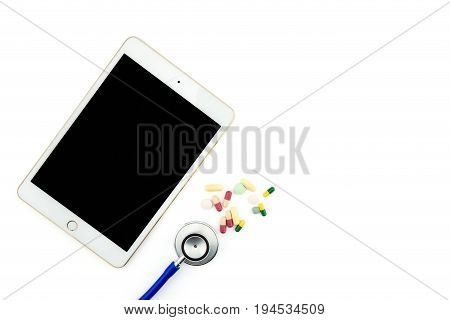 Top View Of Doctor Desk With Digital Tablet With Empty Screen. Top View Of Medical Equipment, Medici