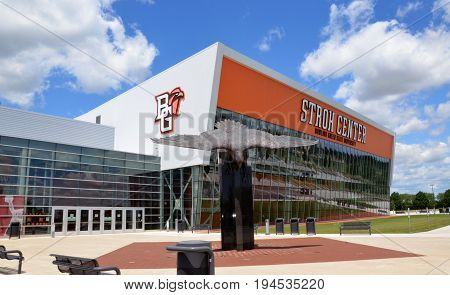 BOWLING GREEN OH - JUNE 25: Stroh Center arena at Bowling Green State University in Bowling Green Ohio is shown on June 25 2017. It has Gold LEED Certification.