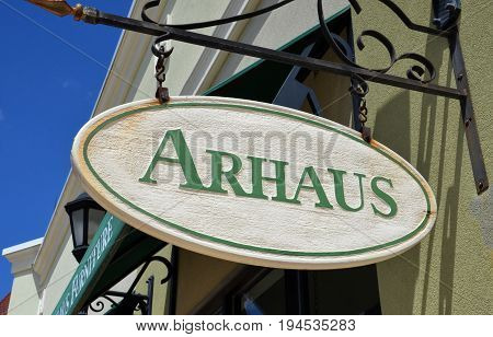 PERRYSBURG OH - JUN 25: A sign for Arhaus in Perrysburg OH is shown here on June 25 2017. Arhaus was founded in 1986.