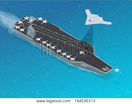 Isometric Long Range Strike-Bomber. Aircraft military mission isolated on background. Aircraft assigned to the nuclear-powered aircraft carrier CVN . Military sea transport