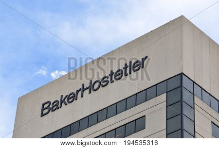 COLUMBUS OH - JUN 28: A sign for BakerHostetler law firm in Columbus OH is shown here on June 28 2017. The law firm celebrated its 100th anniversary in 2016.