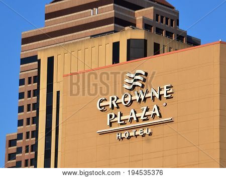 COLUMBUS OH - JUN 28: The Crown Plaza hotel in Columbus OH is shown here on June 28 2017. The chain has more than 400 hotels in 52 countries.