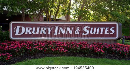 COLUMBUS OH - JUN 28: A sign for Drury Inn & Suites in Columbus OH is shown here on June 28 2017. There are more than 140 hotels in 21 states.