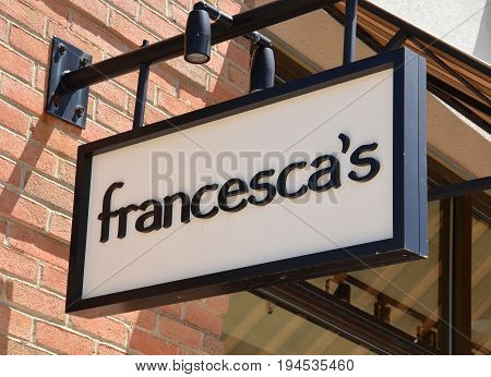 PERRYSBURG OH - JUN 25: A sign for the Francesca's store in Perrysburg OH is shown on June 25 2017. There are over 670 Francesca's stores.