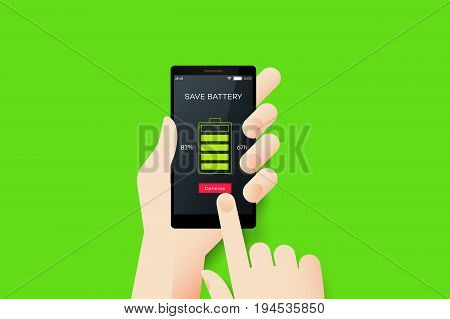 Hand Holding Smartphone With Conceptual Save Battery Mobile Application Interface. Material Design Vector Illustration.